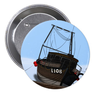 Fishing Boat 3 Inch Round Button