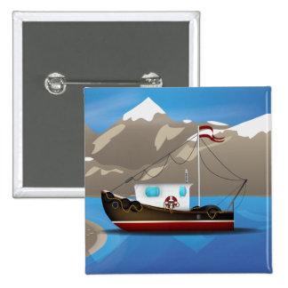 Fishing Boat 2 Inch Square Button