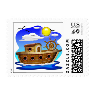 Fishing Boat Cartoon Stamps