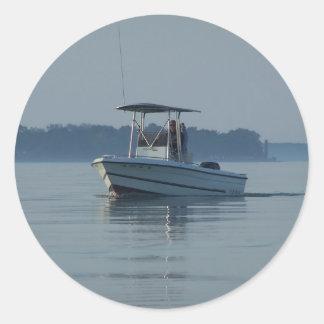 Fishing Boat Classic Round Sticker