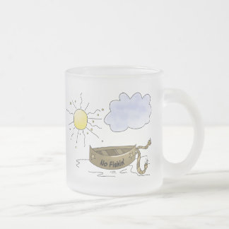Fishing Boat Frosted Glass Coffee Mug