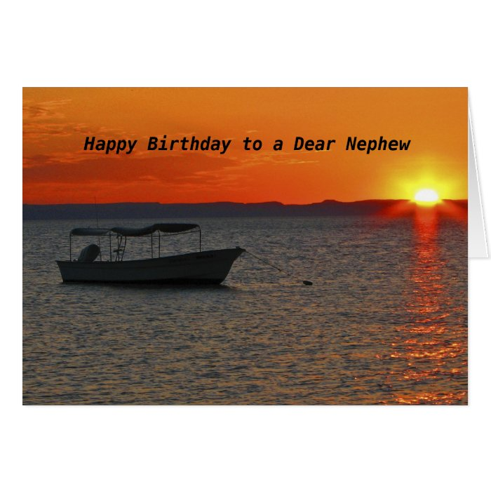 Fishing boat happy birthday to a dear nephew card zazzle for Is tomorrow a good day to go fishing