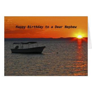 Fishing Boat  Happy Birthday to a Dear Nephew Greeting Card