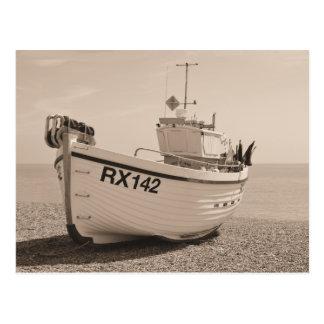 Fishing Boat Hastings Sepia Postcard