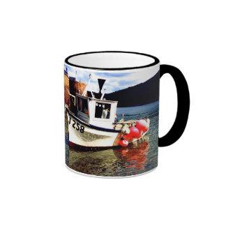 FISHING BOAT IN BONNE NUIT HARBOUR RINGER COFFEE MUG