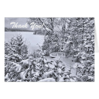 Fishing Boat in Forest, White Christmas Thank You Card