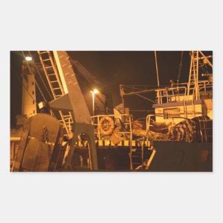 Fishing Boat In Harbor At Night Rectangular Sticker