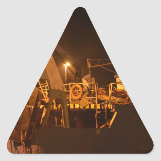 Fishing Boat In Harbor At Night Triangle Sticker