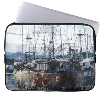 Fishing Boat Marina 2 Watercolor Art Laptop Sleeve