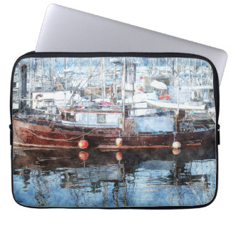 Fishing Boat Marina Watercolour Art Laptop Sleeve
