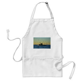 Fishing Boat Mobbed By Gulls Adult Apron