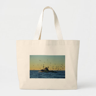 Fishing Boat Mobbed By Gulls Tote Bags
