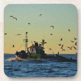 Fishing Boat Mobbed By Gulls Beverage Coaster