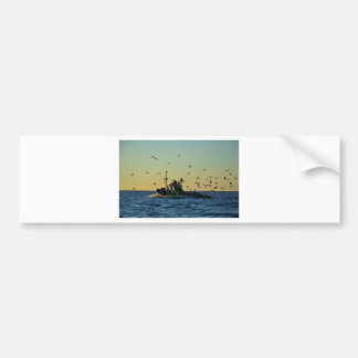 Fishing Boat Mobbed By Gulls Bumper Sticker