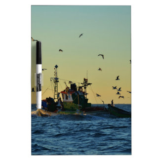 Fishing Boat Mobbed By Gulls Dry-Erase Board