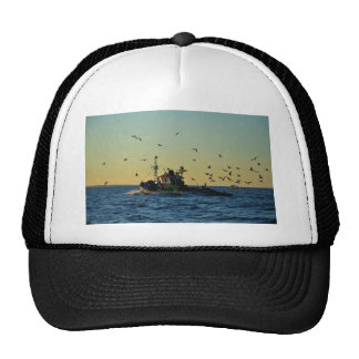 Fishing Boat Mobbed By Gulls Hats
