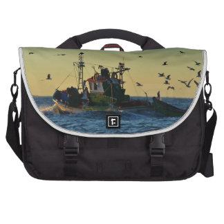 Fishing Boat Mobbed By Gulls Laptop Messenger Bag