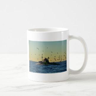 Fishing Boat Mobbed By Gulls Basic White Mug