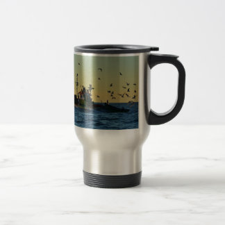 Fishing Boat Mobbed By Gulls Stainless Steel Travel Mug