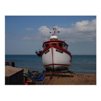 Fishing Boat Morning Haze On Beach Postcard