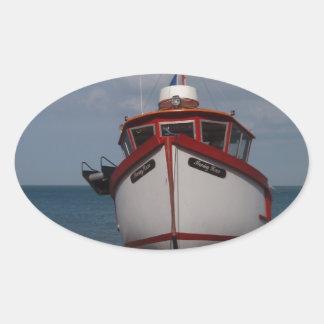 Fishing Boat Morning Haze Oval Sticker