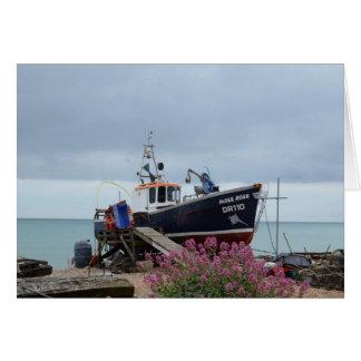 Fishing Boat Moss Rose Greeting Card