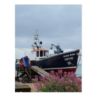 Fishing Boat Moss Rose Postcard