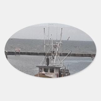 Fishing Boat Ocean Charter Oval Sticker
