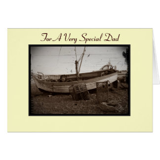 fishing boat on beach at seaside photo for dad card