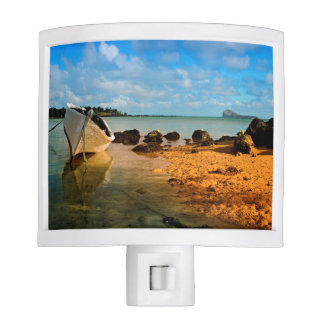 Fishing Boat On Mauritian Beach With Islet Nite Lites