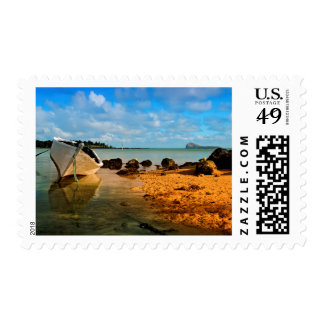 Fishing Boat On Mauritian Beach With Islet Postage Stamp