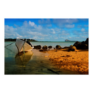 Fishing Boat On Mauritian Beach With Islet Print
