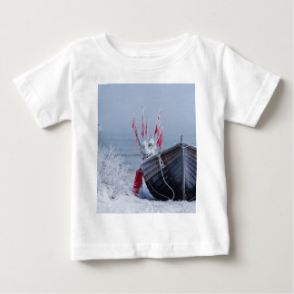 Fishing boat on shore of the Baltic Sea in winter Baby T-Shirt