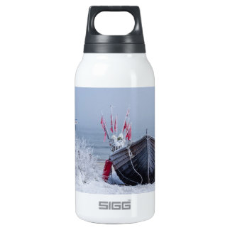 Fishing boat on shore of the Baltic Sea in winter Insulated Water Bottle