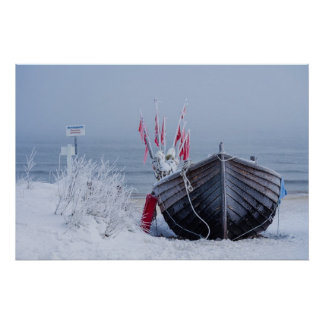 Fishing boat on shore of the Baltic Sea in winter Poster