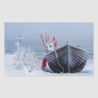 Fishing boat on shore of the Baltic Sea in winter Rectangular Sticker