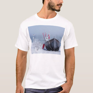 Fishing boat on shore of the Baltic Sea in winter T-Shirt