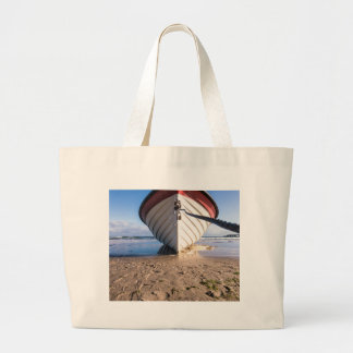 Fishing boat on shore of the Baltic Sea Large Tote Bag