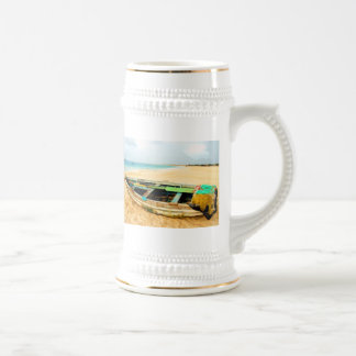 Fishing Boat on the Beach Beer Stein