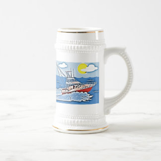 Fishing Boat on the High Seas Beer Stein