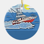 Fishing Boat on the High Seas Christmas Ornament