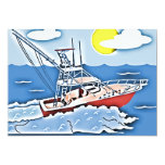 Fishing Boat on the High Seas Personalized Invitation