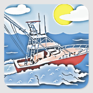 Fishing Boat on the High Seas Square Stickers