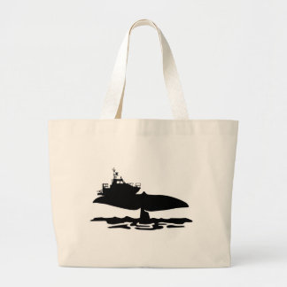 Fishing boat on whale tale by Sofia Youshi Jumbo Tote Bag