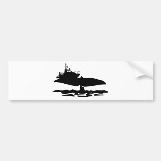 Fishing boat on whale tale by Sofia Youshi Bumper Sticker