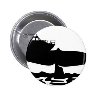 Fishing boat on whale tale by Sofia Youshi 2 Inch Round Button