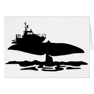 Fishing boat on whale tale by Sofia Youshi Card