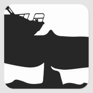 Fishing boat on whale tale by Sofia Youshi Square Sticker