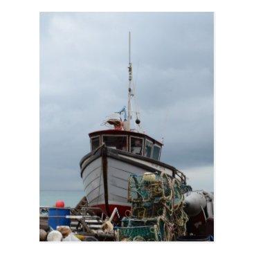 Beach Themed Fishing Boat Polar Bear Postcard