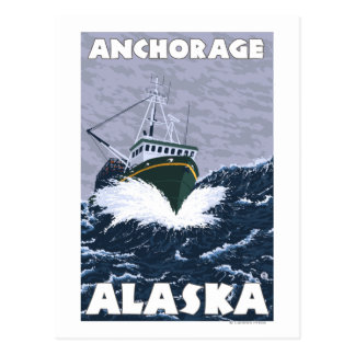 Fishing Boat Scene - Anchorage, Alaska Postcard